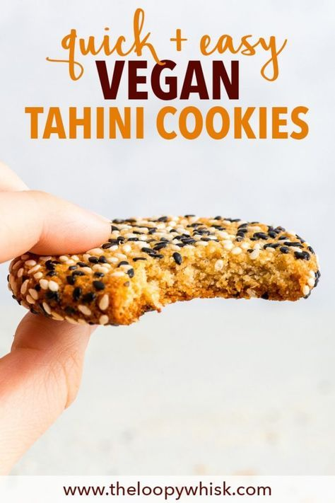Quick + Easy Vegan Tahini Cookies (Gluten Free, Dairy Free, Vegan, Paleo) - If you have 30 minutes to spare, make these delicious vegan tahini cookies. They're healthy and easy to make – but more importantly, with their crispy caramelised edges, sweet chewy centre and an amazing tahini flavour… they're absolutely to die for. Easy cookie recipe. Quick cookies. Tahini recipes. Quick dessert recipes. Healthy dessert recipes. Healthy cookies. Vegan cookies. Vegan dessert recipes. #cookies #tahini #quickcookies