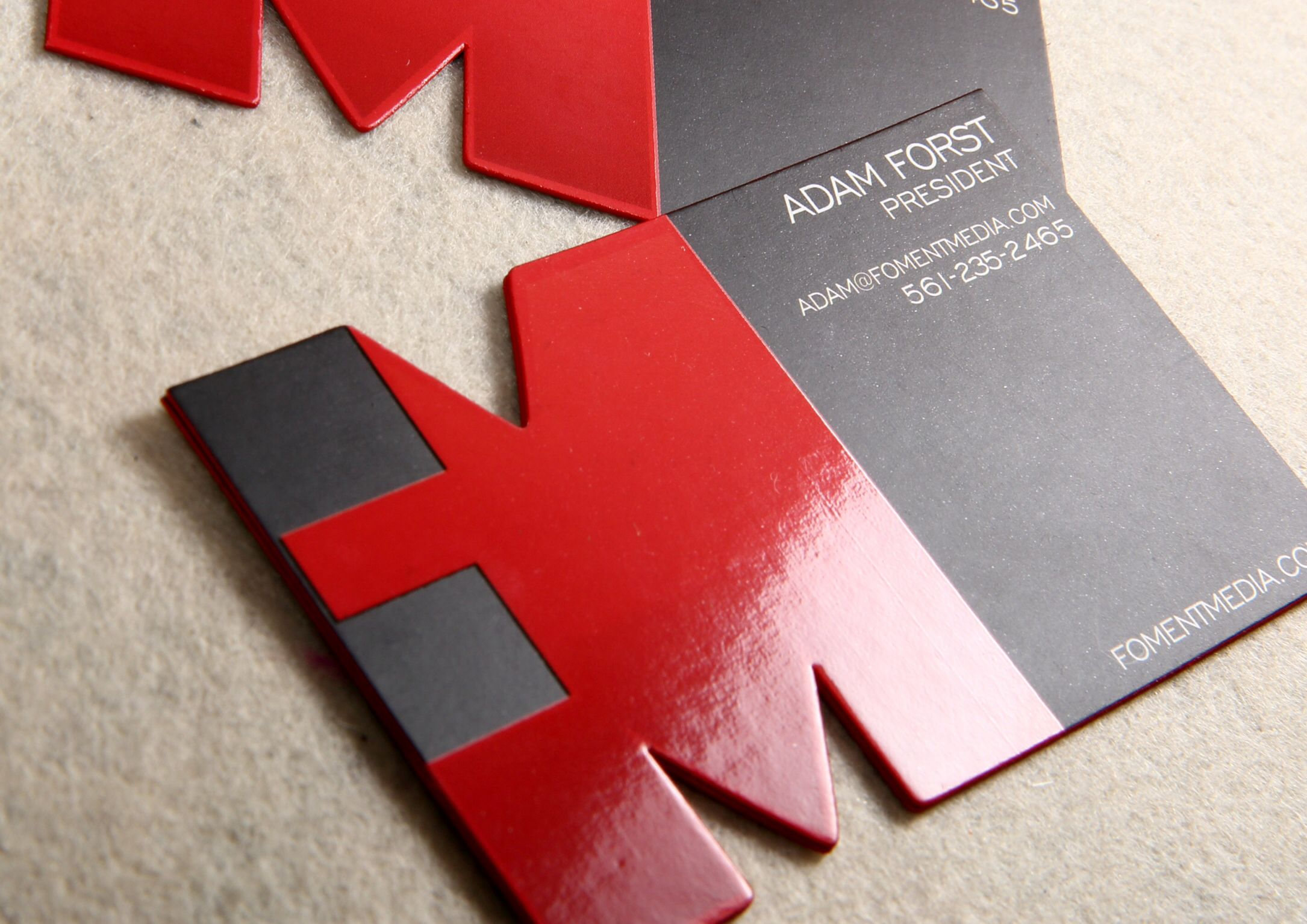 Custom die cut business card with spot uv and red colored edges custom die cut business card with spot uv and red colored edges reheart Image collections