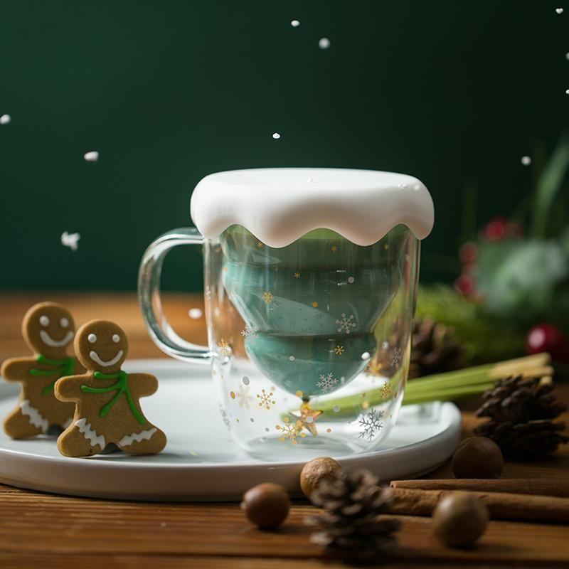 Christmas Tree Insulated Glass Coffee Mug #inspireuplift explore Pinterest