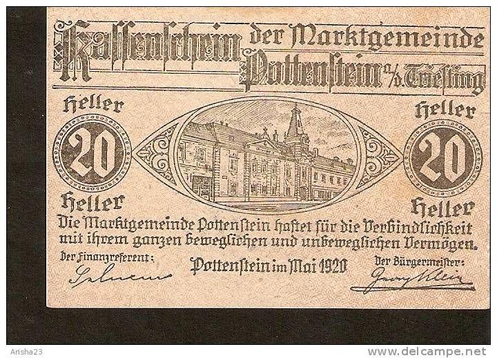 A44 Austria Kassenschein Der Marktgemeinde Pottenstein 20 Heller 1920 Gemst Stamp Bank Notes Paper Money Money