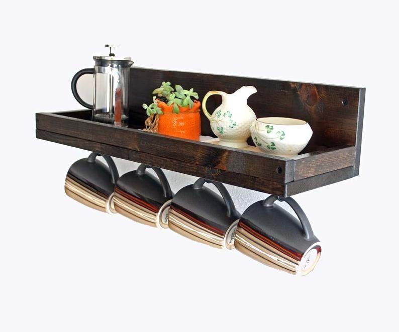 Coffee Mug Shelf With Hooks Hanging Mug Rack Coffee Cup Mug Rack Coffee Mug Holder Coffee Bar Shelf Organizer In 2020 With Images Hanging Mugs