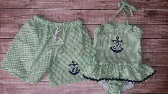 Green Seersucker Sibling suits with Anchor by BabyDoodleBoutique