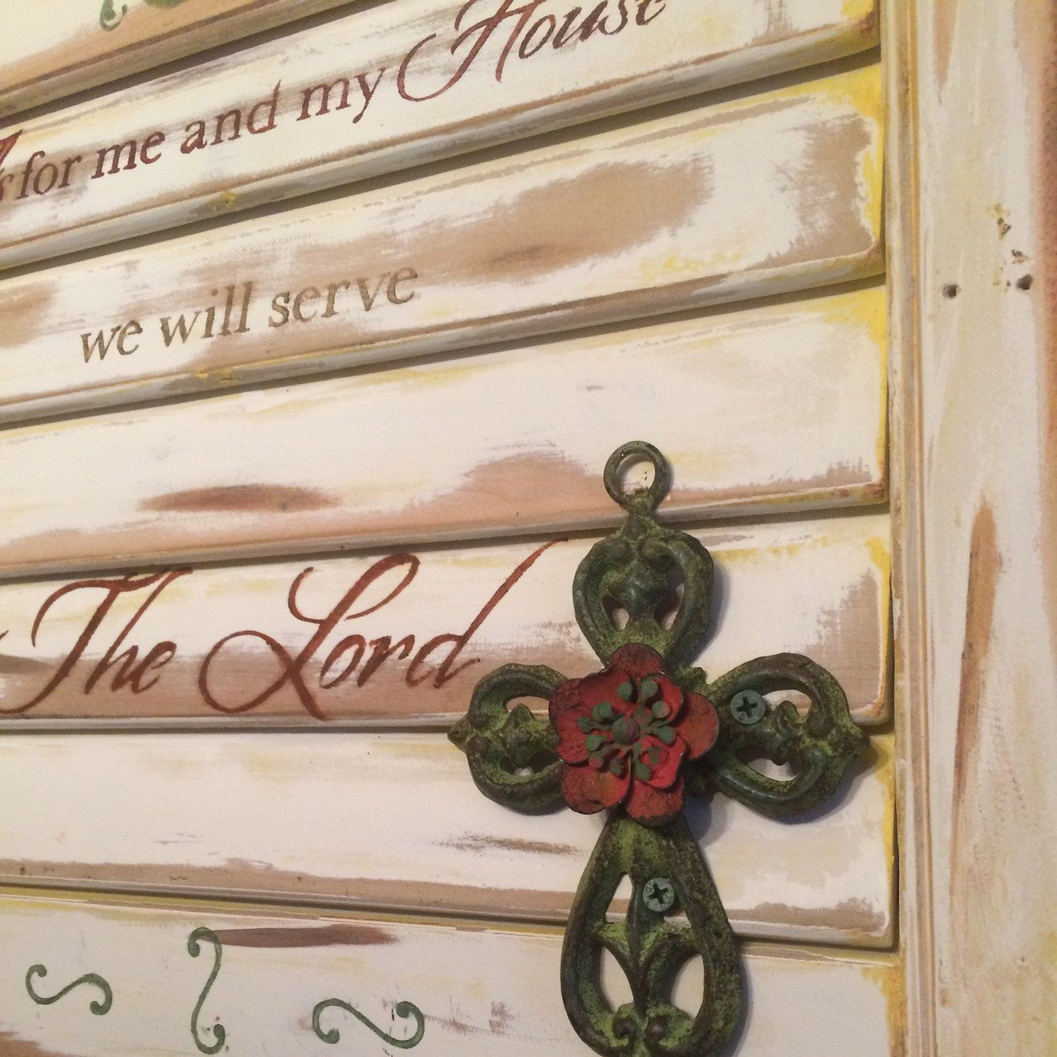 We will serve the Lord Salvaged shutter Old wood
