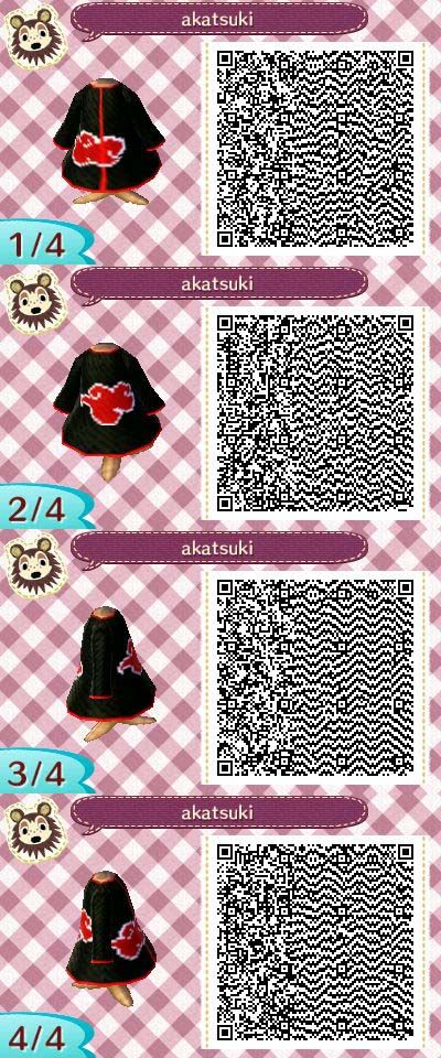 Akatsuki Robe From Naruto Animal Crossing Qr Codes Clothes