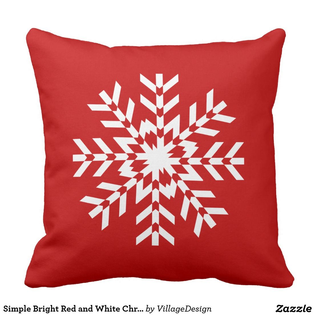 Simple Bright Red and White Christmas Snowflake Outdoor Pillow ...
