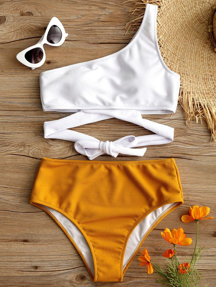 39466eebfd9a Mujeres Un Hombro Alta Pierna Bikini Push Up Cintura Alta Traje de ...