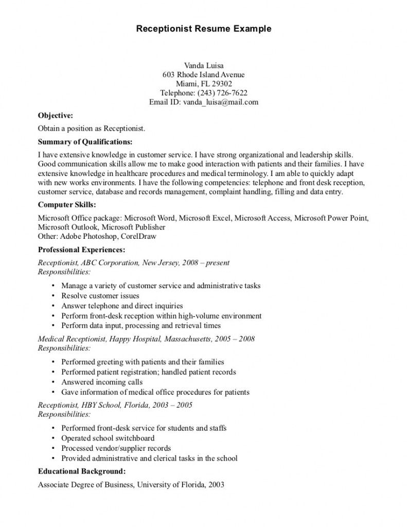 Doc618800 Sample Resume of Receptionist Unforgettable – Sample Resumes for Receptionist