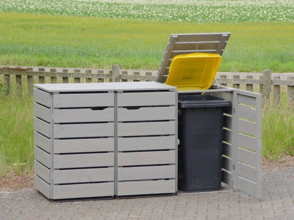 3er mülltonnenbox holz 240 liter | mülltonnenbox und grau
