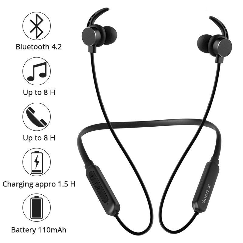Earphones Wireless Bluetooth Headphones Magnetic Headset With Microphone Waterproof Sports Earbuds For Bluetooth Headphones Wireless Wireless Earphones Earbuds
