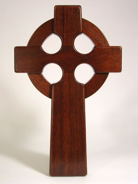 Large Irish Celtic Cross Wall Hanging Mahogany Wood For Church Or Home Art Decoration