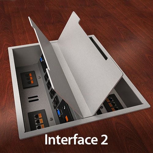 Interface Conference Table Trough With Access To Power And Data - Conference table cable management box