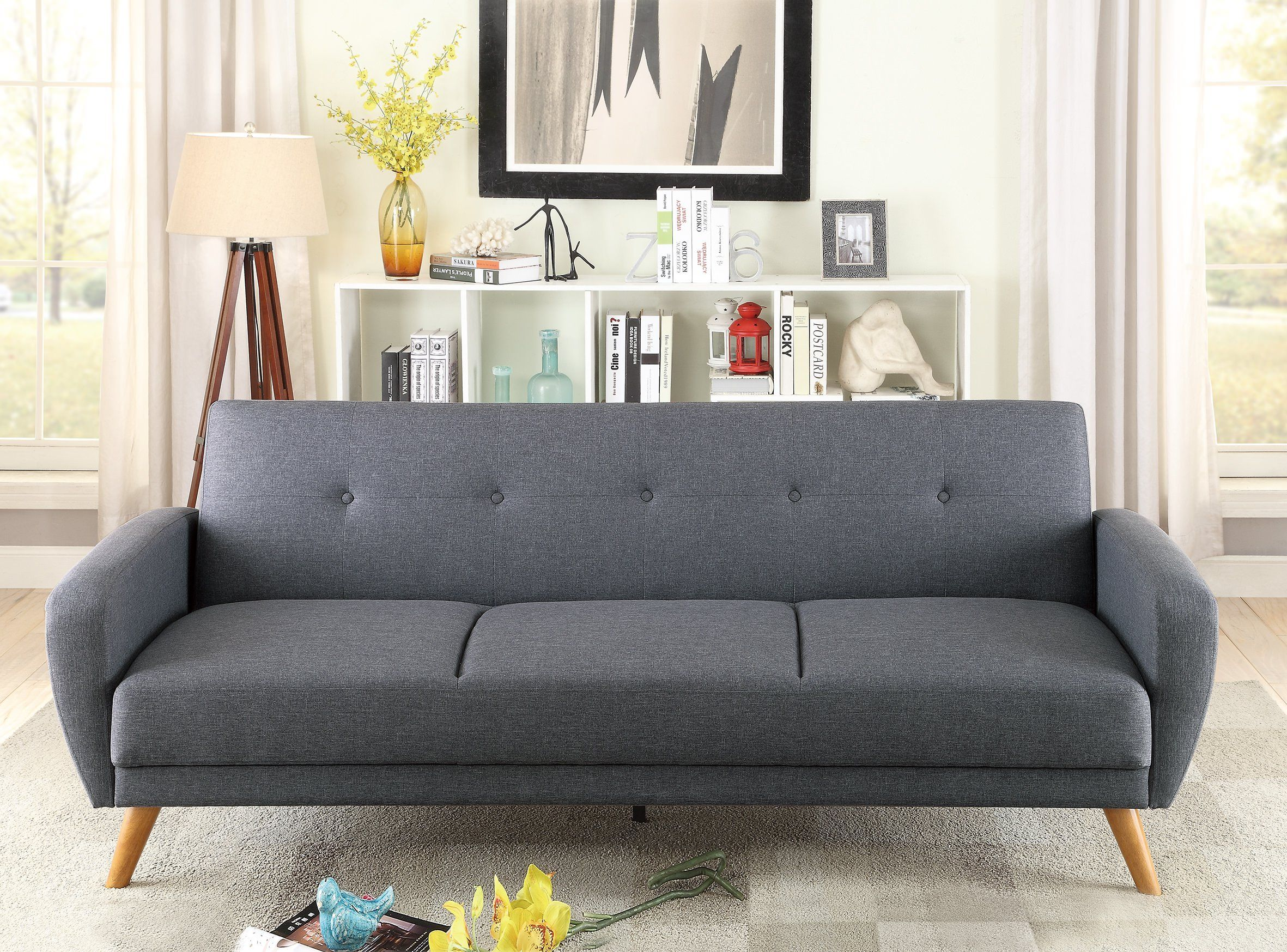 F6851 Blue Gray Convertible Sofa Bed By Poundex Futon Sofa