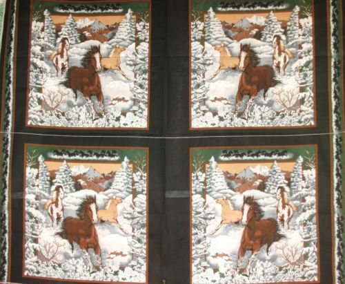 1 Yd Western Horse Quilt Fabric Pillow Panel Horses in Snow Country Winter #Marshall