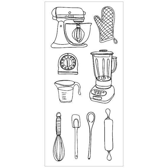 Kitchen (9 Clear Stamps: Mixer, Oven Glove, Blender, Timer