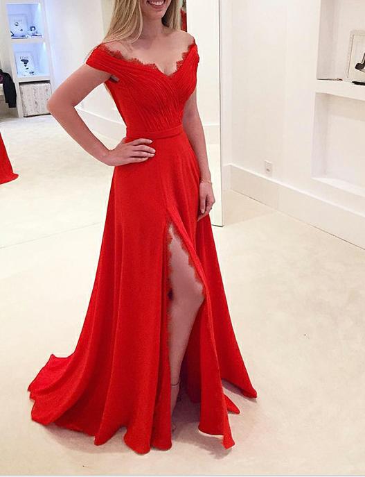 a line off the shoulder prom dresses 2018