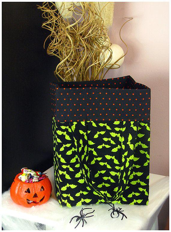 FREE SHIPPINGTrickorTreat Tote Bag  Green Bats by JanaCreations, $19.99