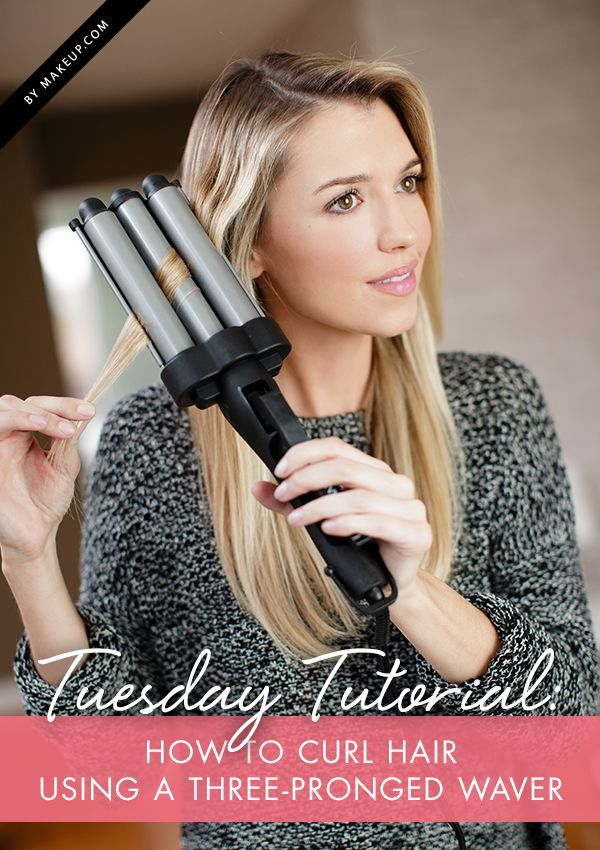 Tuesday Tutorial How To Curl Hair Using A Three Pronged Waver Makeup Com Curled Hairstyles Hair Waver Triple Barrel Hair