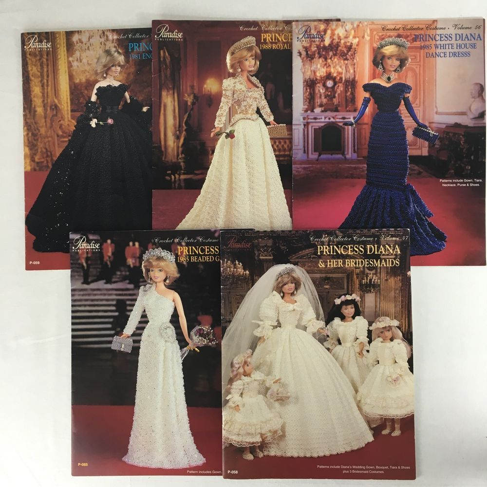 Princess Diana Paradise Crochet Collector Pattern Lot Of 5 Vols 47 Wedding Gown Fabric Sewing Patterns Vogue Patterns Wedding Gowns [ jpg ]