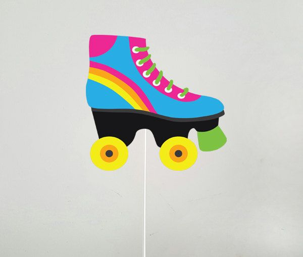 Roller Skate Cake Topper Centerpiece Stick Etsy In 2020 Roller Skate Cake Roller Skate Birthday Roller Skating Party