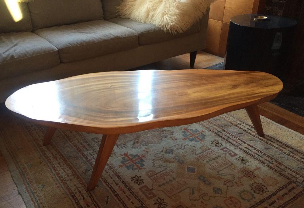 Vintage 1960s Mid Century Splay Leg Monkey Pod Slab Coffee Table Nakashima Wood