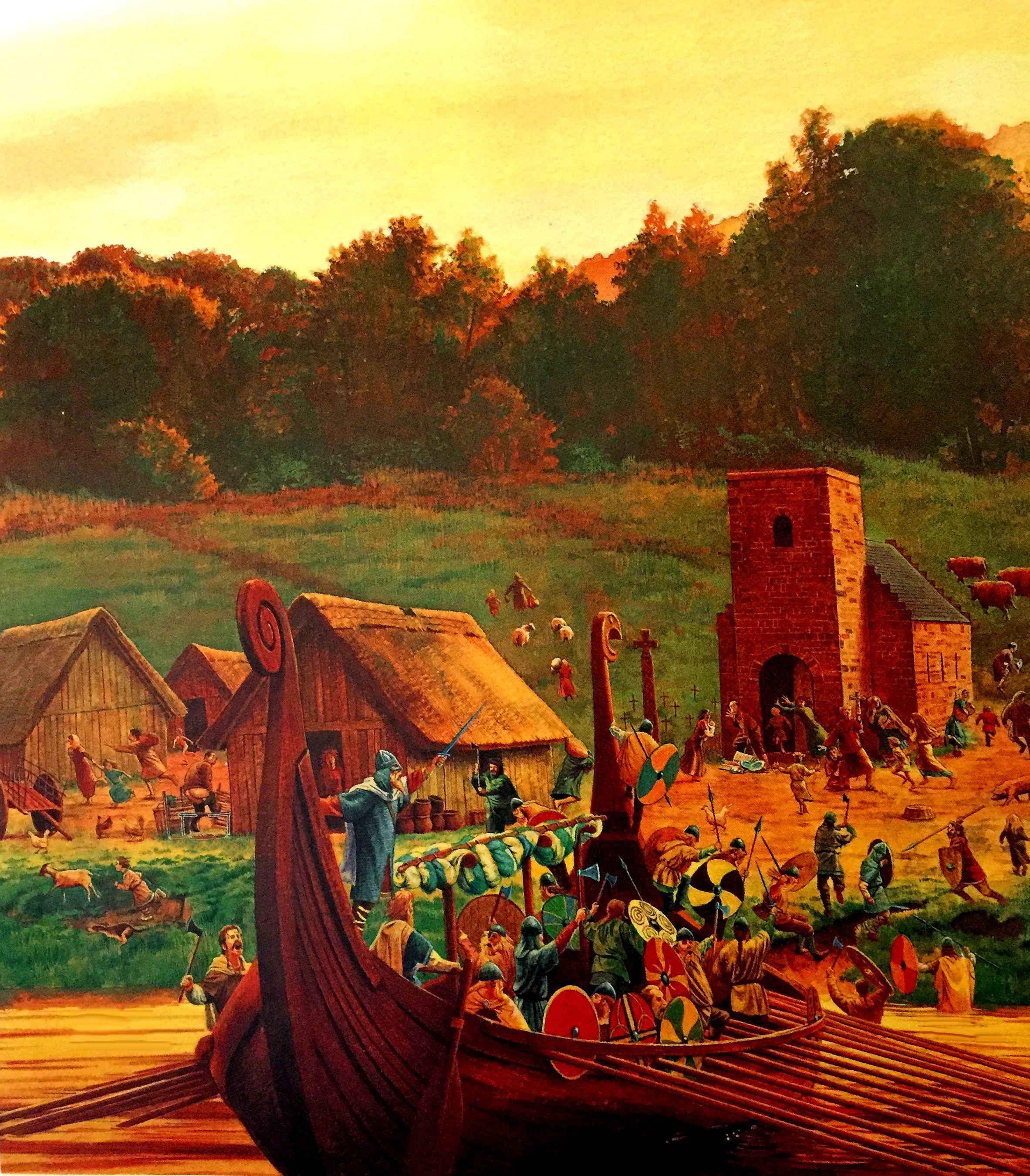 Viking Raid On An English Village By Steve Noon