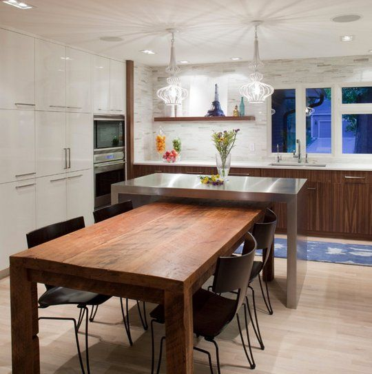 Inspired By Stainless Steel Kitchen Islands Kitchen Island Dining Table Kitchen Island And Table Combo Kitchen Island Table