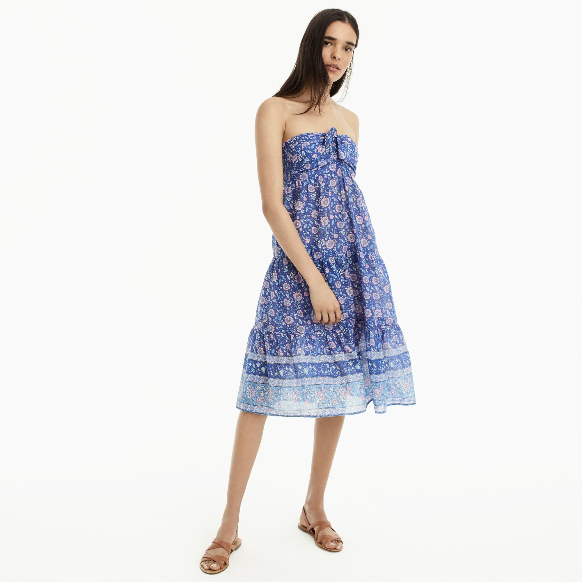 J Crew Strapless Dress In Floral Block Print Affiliate Resortwear Springfashion Summerfashion Strapless D Strapless Floral Dress Dresses Strapless Dress