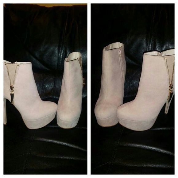 Camel color booties Has gold zippers on the side. Never worn Rouge Shoes Ankle Boots & Booties