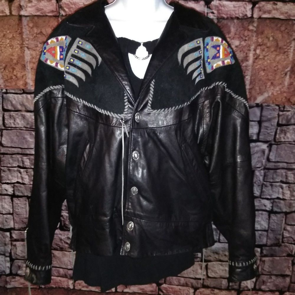 Arturo Burray Olsen Design Leather Jacket Blk Beaded Native American Mexican 44 Leather Jacket Jackets Lightweight Jacket [ 1000 x 1000 Pixel ]