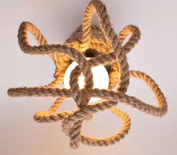 jute kraken plafondlamp of lichte muur loft gemaakt van zeilen