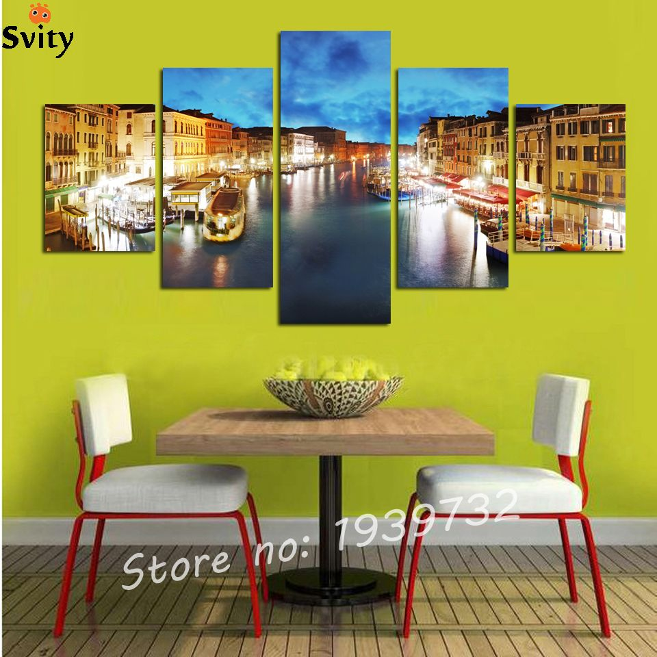 Hot Sell 5 pieces Wall Art Pictures Printed Picture Light Night City ...