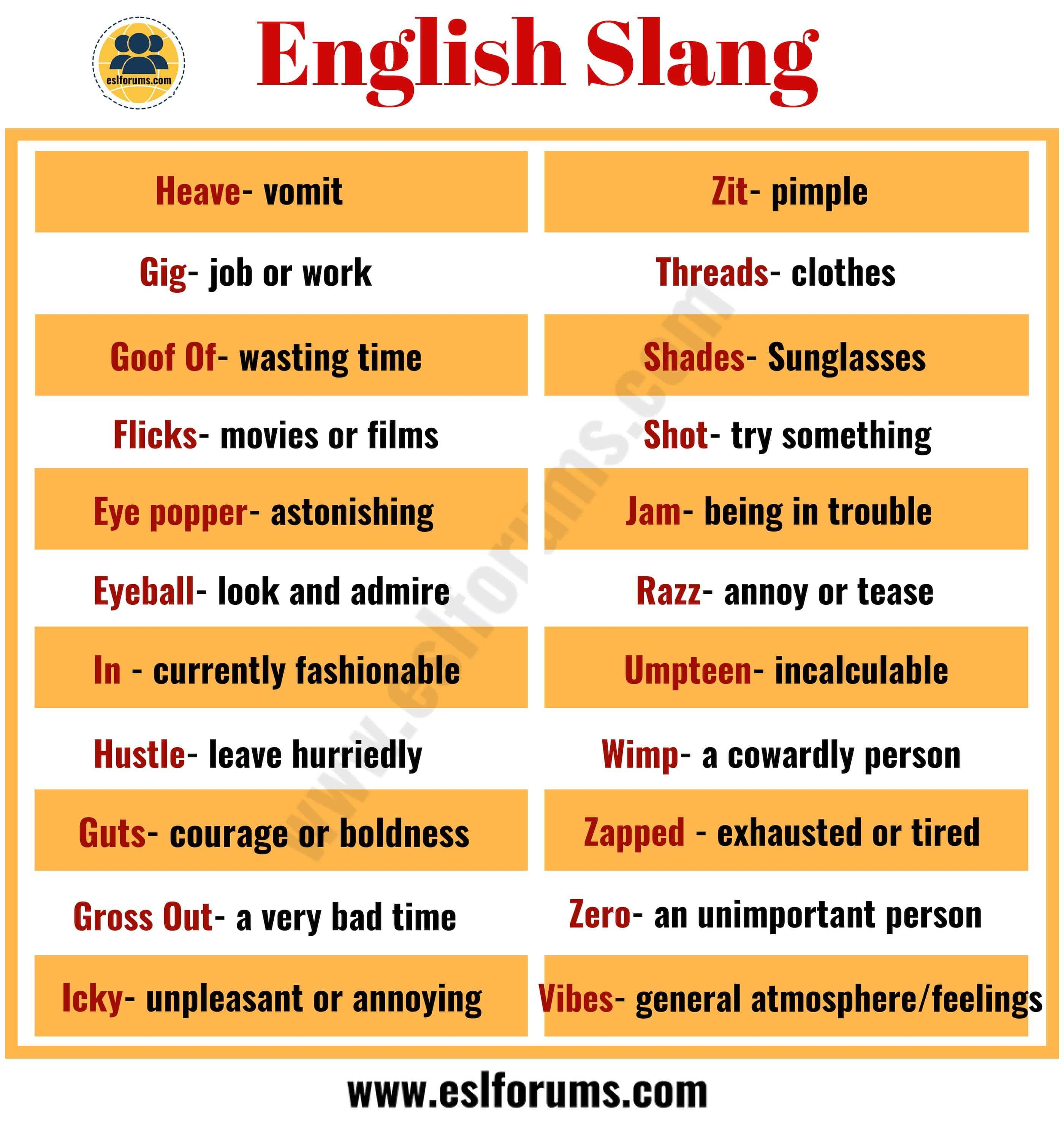100 Common English Slang Words Amp Phrases You Need To Know