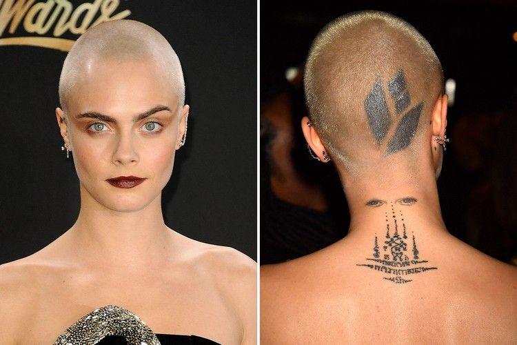 Frauen Haare Abrasieren Glatze Haar Tattoo Cara Delevingne