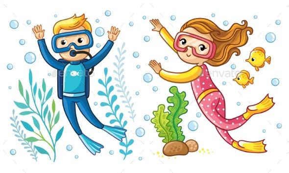 A Boy And A Girl Swim Under The Water Girls Swimming Underwater Swimming