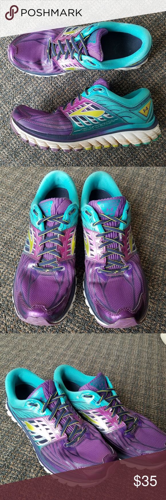 a4d18ca665373 Brooks Glycerin 14 Running Shoes Purple Lime sz 11 Brooks Glycerin 14 Pansy  Ceramic Purple Lime