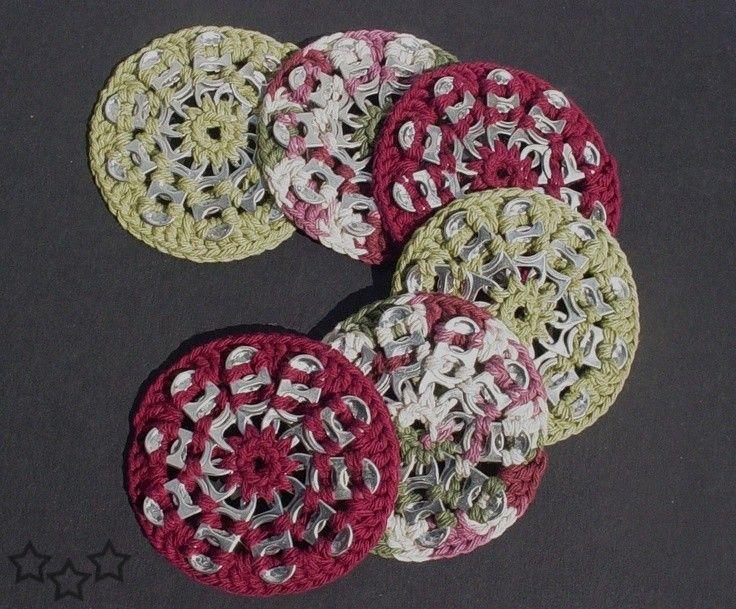 Resultado de imagen para manualidades con anillas de latas y crochet crochet pinterest crochet - Manualidades con chapas de refrescos ...