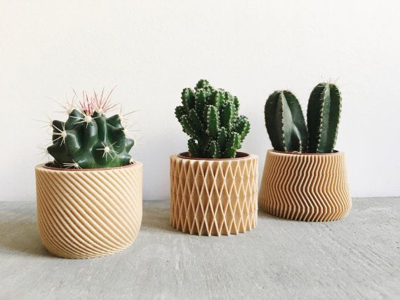 Set Of 3 Small Geometric Indoor Plant Pots Original Planter Gift