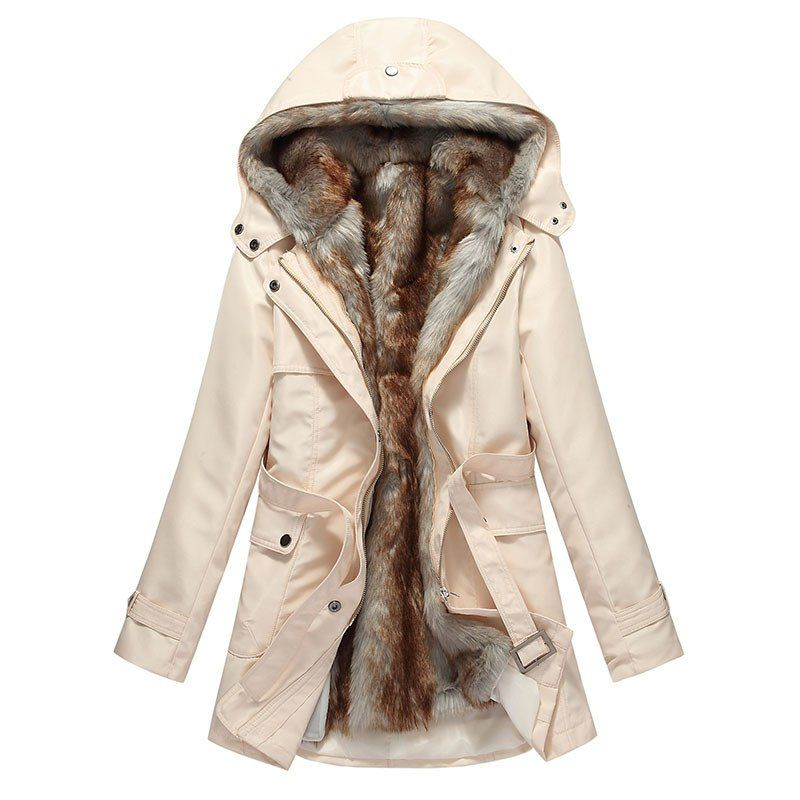 Womens Coat Thick Fur Lined Parka Khaki Padded Warm Winter Pink Hooded Cotton