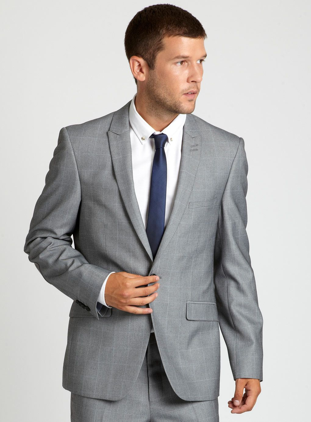 Kenneth Cole Reaction Men's Slim-Fit Light Grey Suit with Finished ...