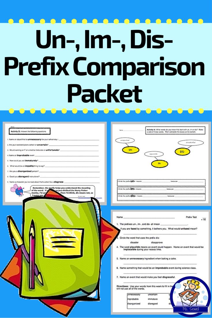 Um Im Dis Weeklong Prefix Comparison Packet Vocabulary Activities Fifth Grade Writing Teaching Third Grade
