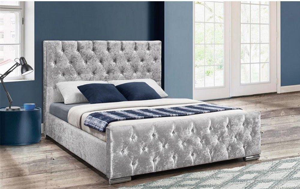 150cm Finsbury Bed Steel Crushed Velvet Beaumont Luxury