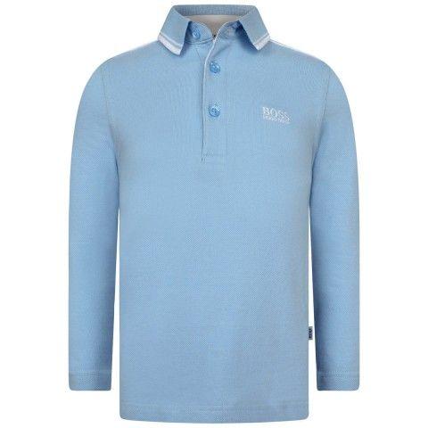 BOSS Boys Pale Blue Long Sleeve Pique Polo Shirt