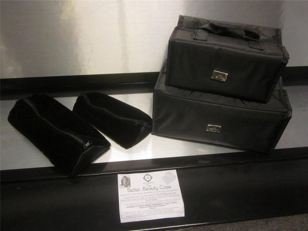 Joy Mangano SATIN STRIPE ROYAL Chic Color Me Better Beauty Case Set