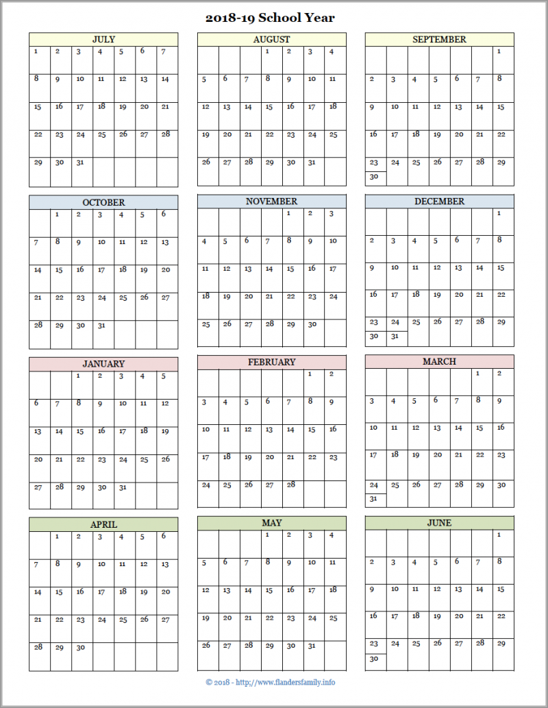 photo relating to Printable School Year Calendar named Instructional Calendars for 2018-19 Higher education Yr (Free of charge Printable