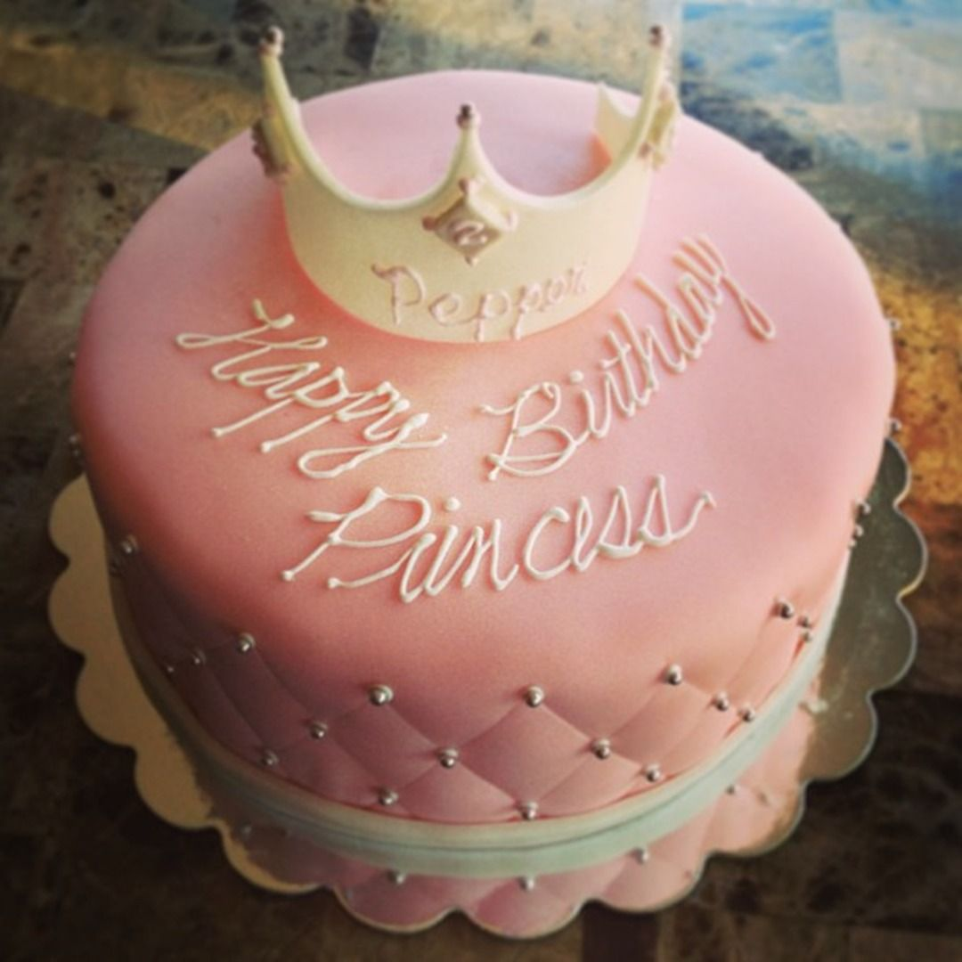 Pink Princess Birthday Cake with fondant crown and quilted finish with pearl accents