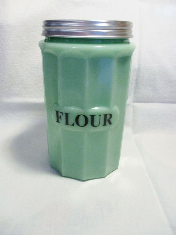 Jadeite Green Glass Large Flour Canister With Metal Lid In Excellent Condition Modern In 2020 Flour Canister Green Glass Mckee Glass