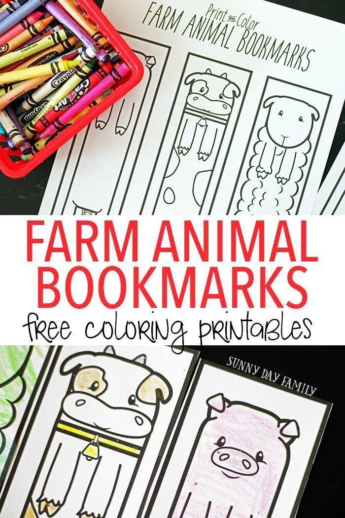Free Printable Farm Animal Bookmarks For Kids To Color