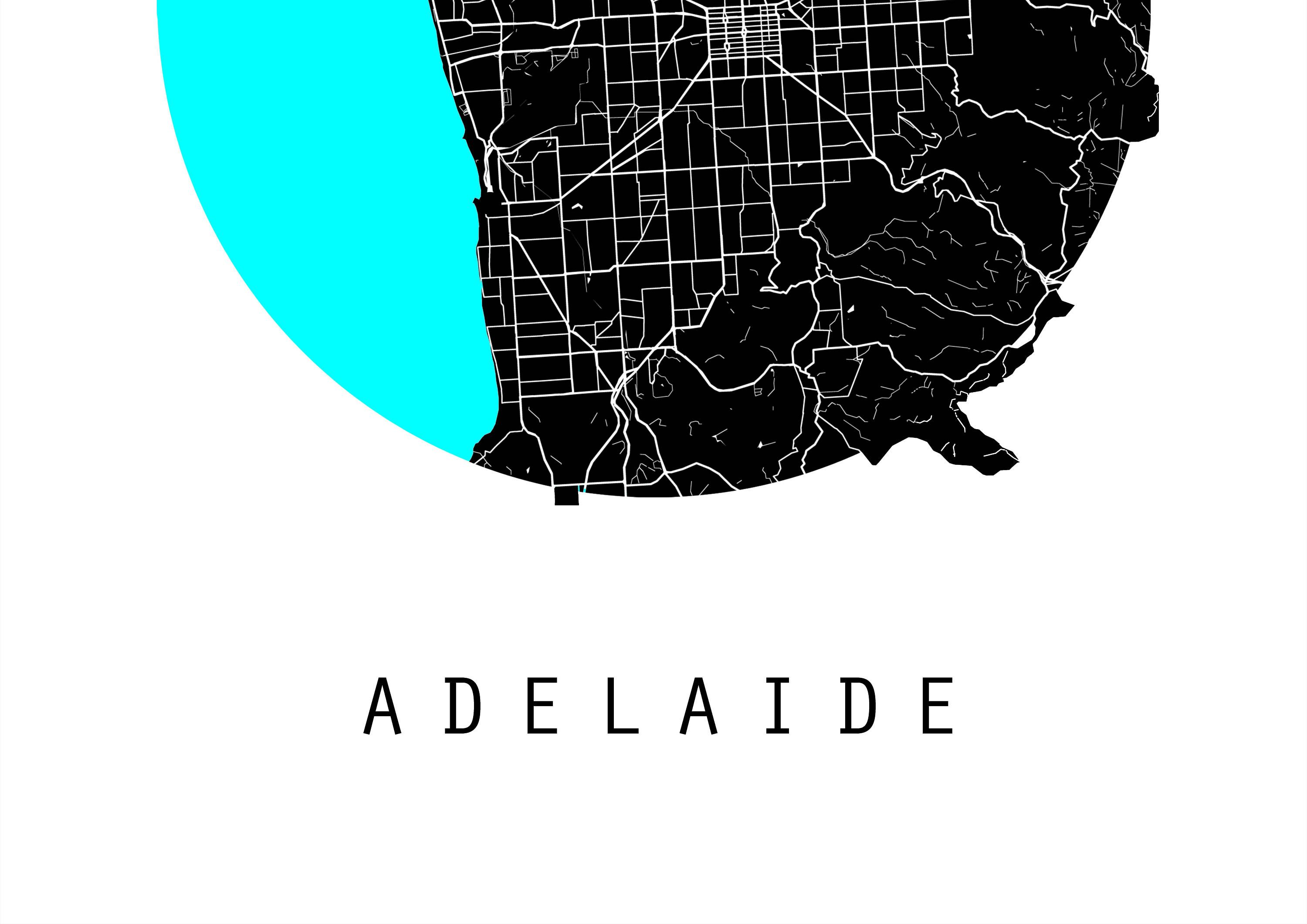 Adelaide Map Australia Map World Map Maps Black And White Map