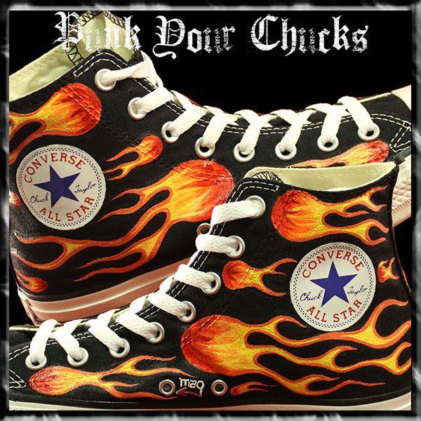 e78da990a3 Biker Flames Custom Converse Sneakers | Custom Converse Sneakers ...