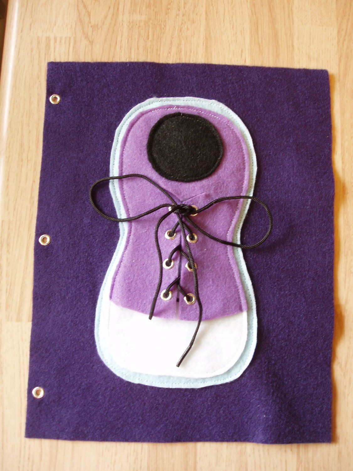 Tie the Shoe Quiet Book Felt Page Purple